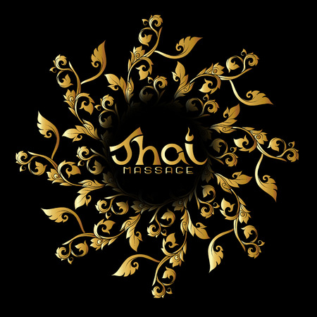 Logo for Thai massage with traditional thai ornament, pattern el Ilustração