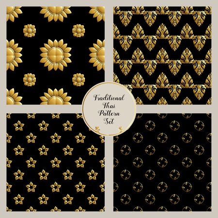 Set of seamless pattern with gold decorative elements of traditi