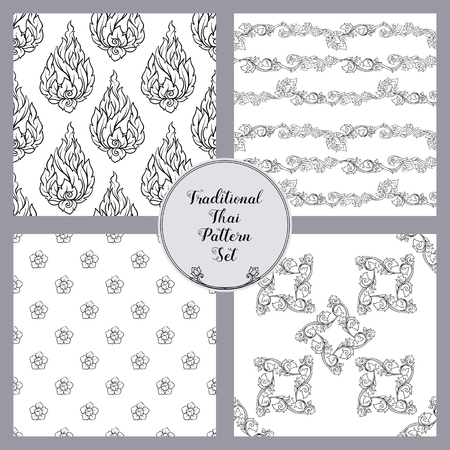 Set of seamless pattern with outline decorative elements of trad Stock Vector - 107669012