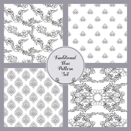 Set of seamless pattern with outline decorative elements of trad