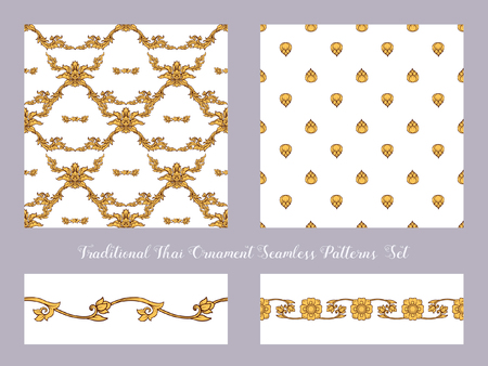 Set of seamless pattern with color decorative elements of tradit