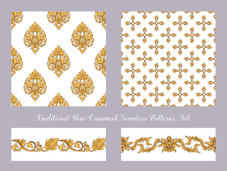 Set of seamless pattern with color decorative elements of tradit  イラスト・ベクター素材