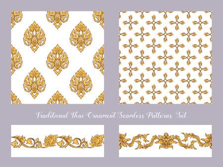 Set of seamless pattern with color decorative elements of tradit Ilustração