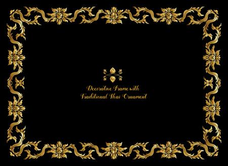 Frame met gouden decoratieve elementen van traditioneel Thais ornament