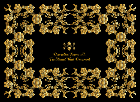 Frame with gold decorative elements of traditional Thai ornament