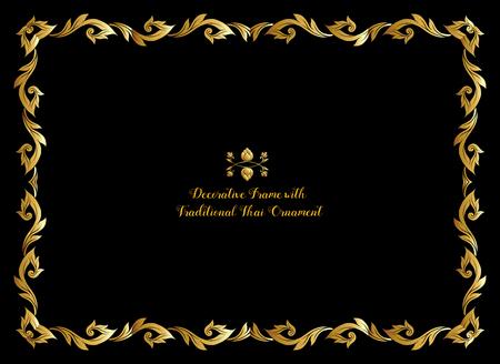 Cadre avec des éléments décoratifs en or de l'ornement thaï traditionnel Vecteurs