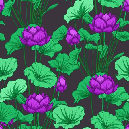 Seamless pattern, background with lotus flower. Botanical illustration style. Stock vector illustration. Archivio Fotografico - 111839900
