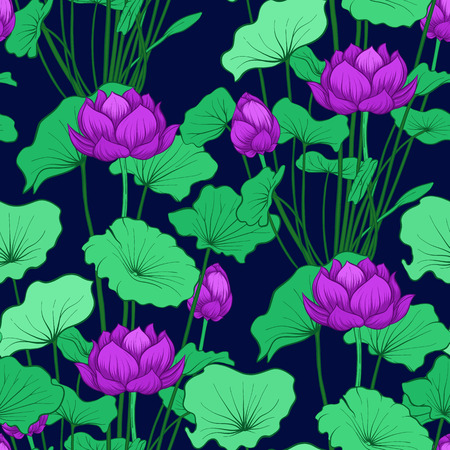 Seamless pattern, background with lotus flower. Botanical illustration style. Stock vector illustration. Archivio Fotografico - 111839903