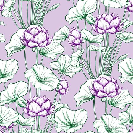 Patrón sin fisuras, fondo con flor de loto. Estilo de ilustración botánica. Ilustración vectorial de stock. Ilustración de vector