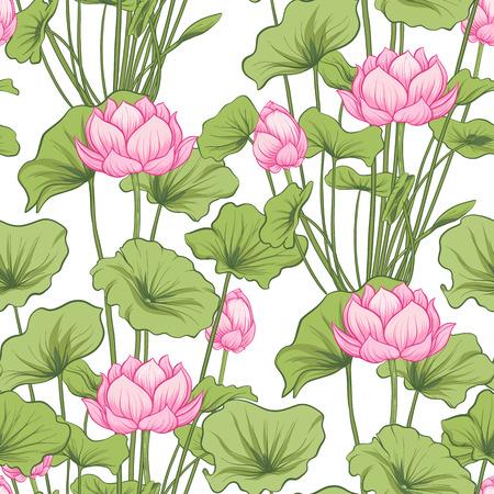 Seamless pattern, background with lotus flower. Botanical illustration style. Stock vector illustration.  Illustration