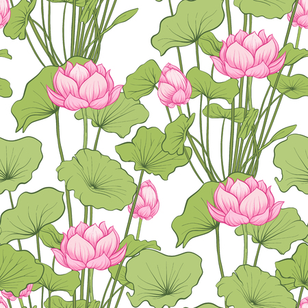 Seamless pattern, background with lotus flower. Botanical illustration style. Stock vector illustration. Reklamní fotografie - 111839908