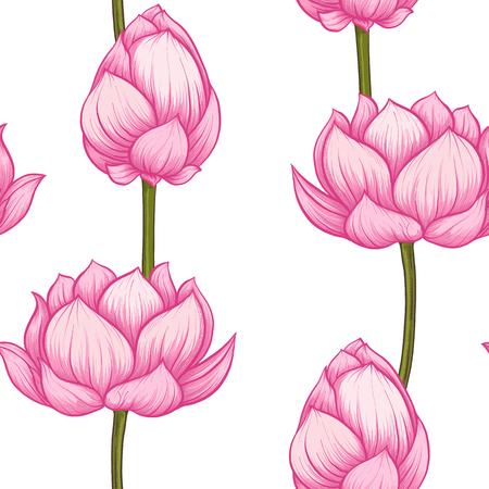 Seamless pattern, background with lotus flower. Botanical illustration style. Stock vector illustration.