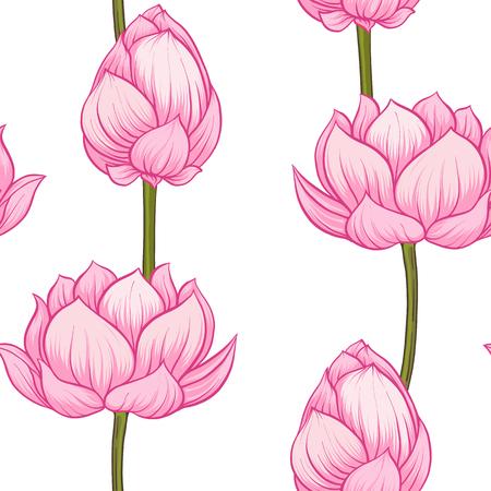 Modèle sans couture, fond avec fleur de lotus. Style d'illustration botanique. Illustration vectorielle stock.