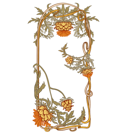 Frame in art nouveau style with thistle. In vintage traditional color. Vector illustration.