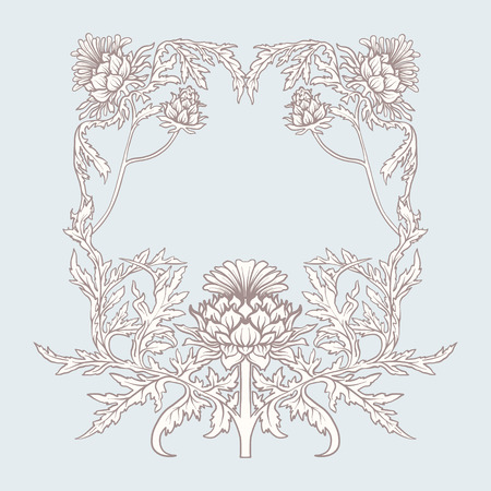 Frame in art nouveau style with thistle. In vintage blue color.