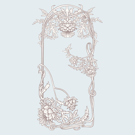 Frame in art nouveau style with thistle. In vintage blue color. Vector illustration. Çizim