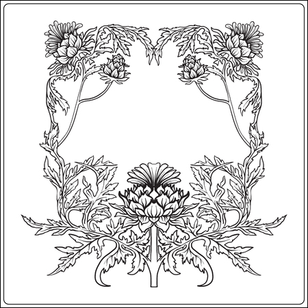 Frame in art nouveau style with thistle. Outline drawing. Vector illustration.