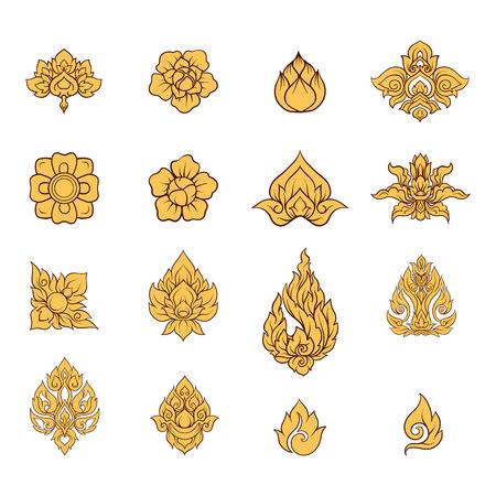 Un insieme di elementi di ornamento tradizionale tailandese.