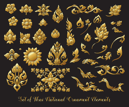 Set of gold elements of traditional Thai ornament. Stock illustr