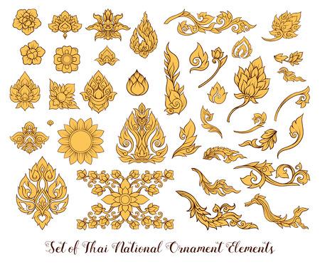 Een reeks elementen van traditioneel Thais ornament.