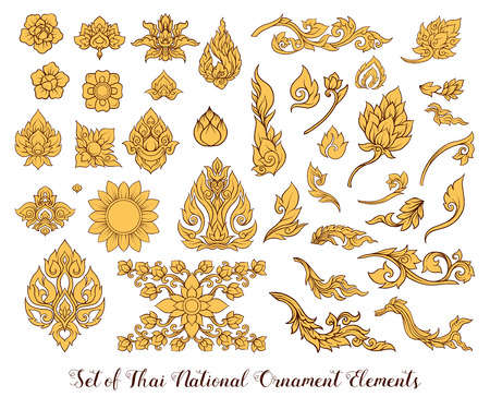 A set of elements of traditional Thai ornament.