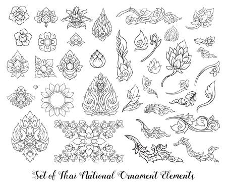 Ensemble d'éléments de contour d'ornement thaï traditionnel. Vecteurs