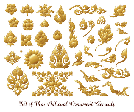 Set of gold elements of traditional Thai ornament. Imagens - 106924904