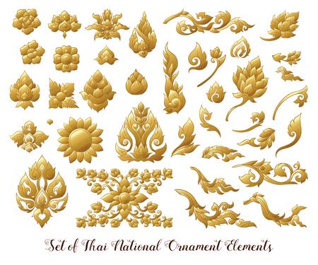 Zestaw złotych elementów tradycyjnego tajskiego ornamentu.