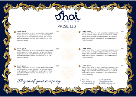 A template for the price list of a Thai massage salon decorated Stock Illustratie