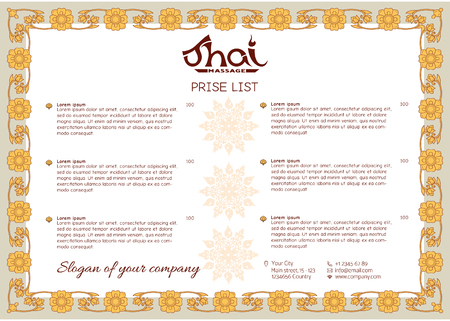 A template for the price list of a Thai massage salon decorated 向量圖像