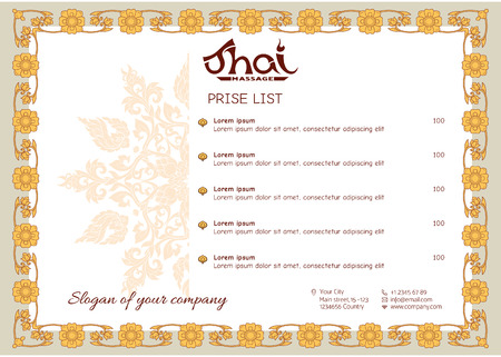 A template for the price list of a Thai massage salon decorated Иллюстрация