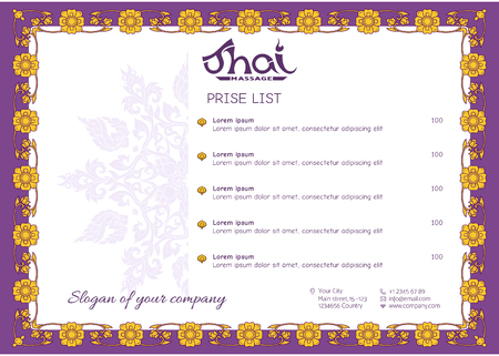 A template for the price list of a Thai massage salon decorated Standard-Bild - 106823804