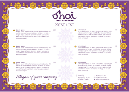 A template for the price list of a Thai massage salon decorated Ilustração