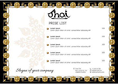 A template for the price list of a Thai massage salon decorated Vettoriali