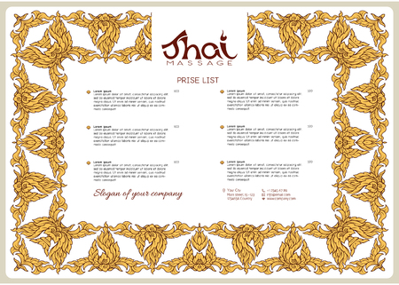 A template for the price list of a Thai massage salon decorated Illustration