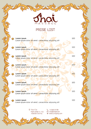 A template for the price list of a Thai massage salon decorated Vectores