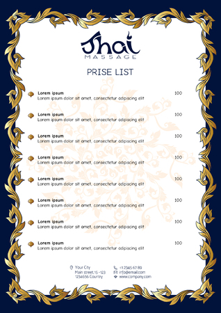 A template for the price list of a Thai massage salon decorated Standard-Bild - 106823853
