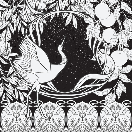 Poster, background with decorative flowers and bird in art nouveau style. Black-and-white graphics. Vector illustration. Çizim