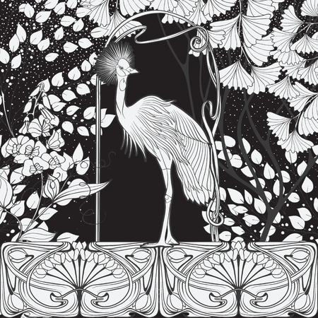 Poster, background with decorative flowers and bird in art nouveau style. Black-and-white graphics. Vector illustration.