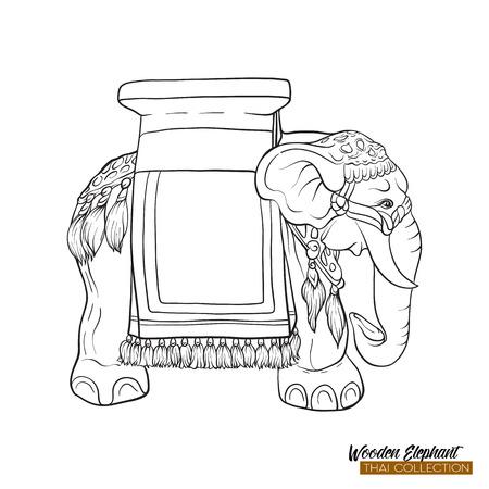 Traditional Thai souvenir - wooden elephant. Outline hand drawin Illustration