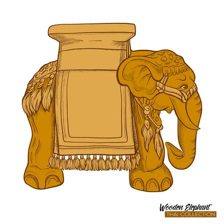 Traditional Thai souvenir - wooden elephant. Stock illustration. 版權商用圖片