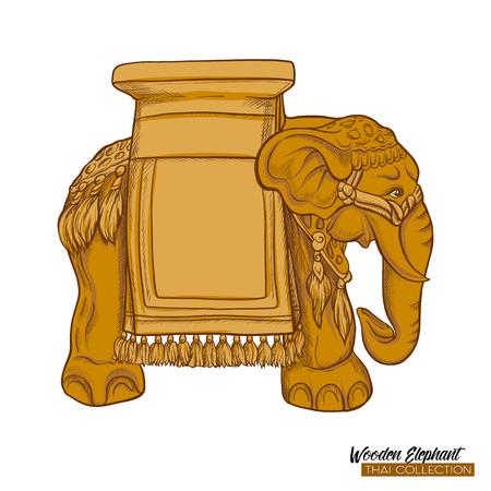 Traditional Thai souvenir - wooden elephant. Stock illustration. Stock Photo