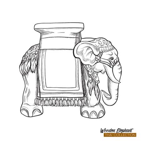 Traditional Thai souvenir - wooden elephant. Stock illustration. Banco de Imagens