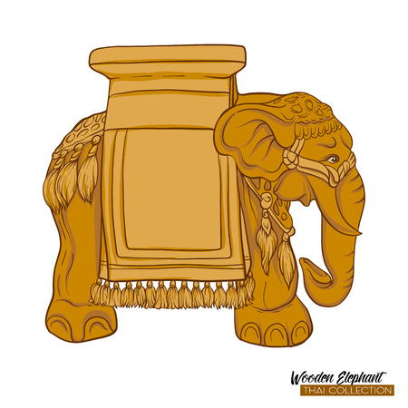 Traditional Thai souvenir - wooden elephant. Stock illustration. 写真素材