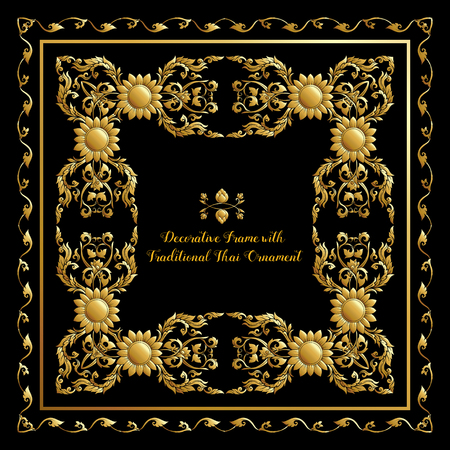 Set of frames with gold decorative elements of traditional Thai
