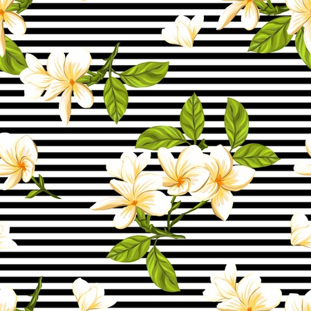 Seamless pattern, background with white plumeria on background. Hand drawn colorful vector illustration without transparent and gradients.