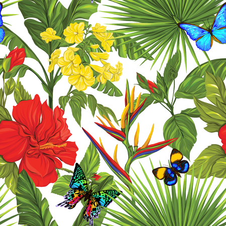 Vector seamless pattern, background with detailed butterflies