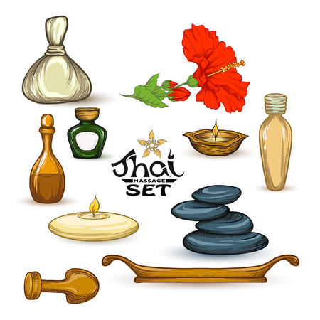 A set of items for Thai massage. Stock vector illustration. Иллюстрация
