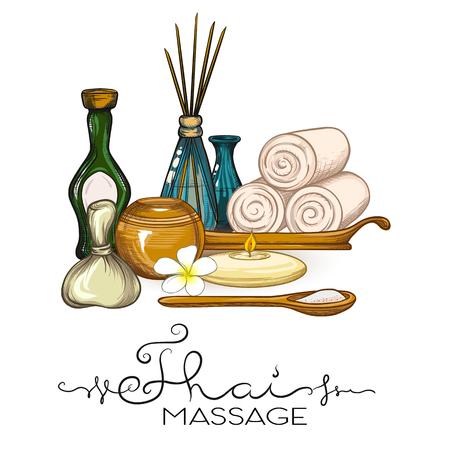 Een set items voor Thaise massage. Voorraad vectorillustratie. Vector Illustratie