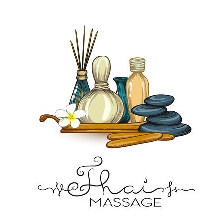 Een set items voor Thaise massage. Voorraad vectorillustratie.